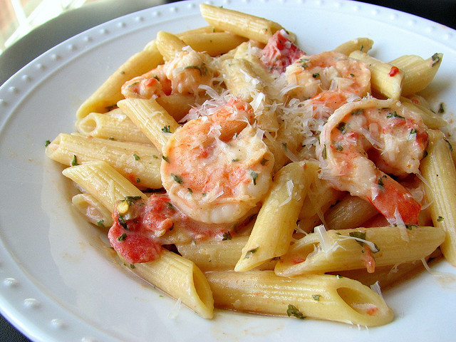 shrimp scampi with penne